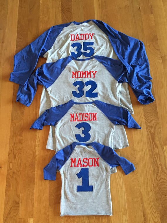 Family baseball raglan, custom names baseball family shirts, coordinating baseball party shirts, monogram baseball shirts, listing for 1