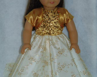 Gold Glitter and  Sequined Gown, Jacket and Shoes - American Girl/18 Inch Doll -- FREE SHIPPING