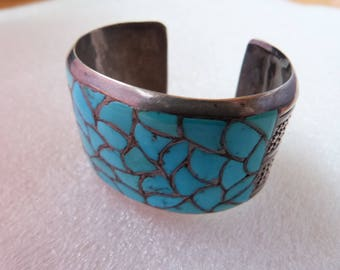 Vintage Wide Turquoise Sterling Silver Native American Wide Cuff Bracelet Random Inlaid Turquoise