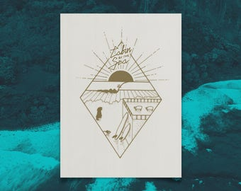 CABIN BY the SEA silkscreen print
