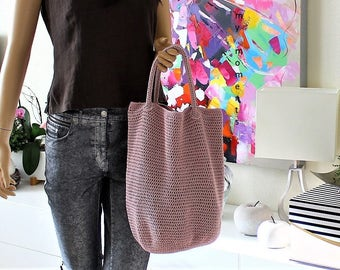 Crochet BAG Cotton dusty rose