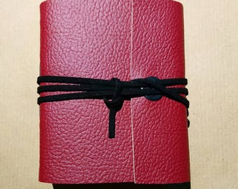 Watercolour journal, red dyed genuine leather with black cord.