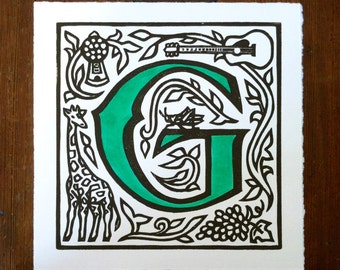 Alphabet print letter j linocut print custom color