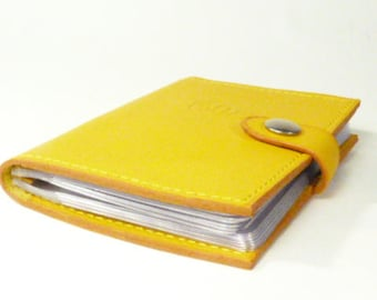 Loyalty cards book, buttercup yellow leather