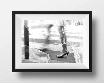 Fine ART Print of Paris  - Parisian Girl on High Heels Photo in Black and White Street View Picture Poster France