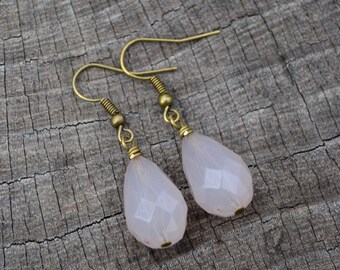 Rose Pink Faceted Briolettes . Earrings