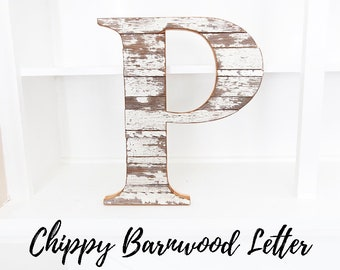 Farmhouse Decor, Rustic Home Decor, Modern, Housewarming Gift, New Home, Wood letter, Barn Wood Decor, Wall Letter, Chippy White, Gallery