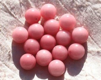 4pc - jade stone - 14mm pink peach coral 4558550014535 balls
