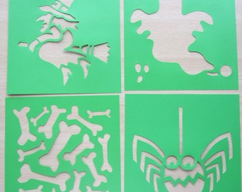 set of 4 STENCILS - themed HALLOWEEN - witch ghost spider REF. 760