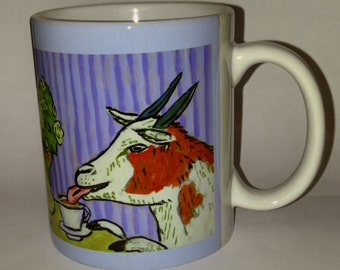 goat art - Goat at the cafe coffee shop art mug cup 11 oz gift