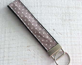 Key Fob Wristlet with Gray and White Swiss Dot Fabric by Riley Blake