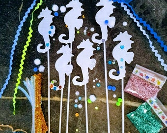 Mermaid Wand Craft Set- Party Activity, seahorse, ocean, sea, crafts for girls, DIY, seaside, beach party, pool