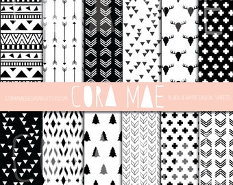 12x12. Black & White Tribal Prints. Instant download. 12 PNG sheets, 300 dpi resolution. Buy 2 get one 1/2 OFF!