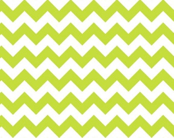 Lime Small Chevron on White Fabric by Riley Blake