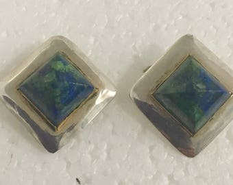 Sterling silver square stud earrings with brass accents and malacite/azurite stones