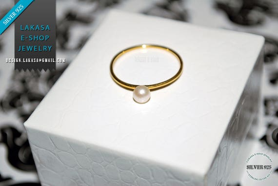 Ring Freshwater Pearl Sterling Silver Gold Handmade Jewelry Friendship Gift for Mother Girlfriend Woman Moda Bridal Greek Minimalist Style