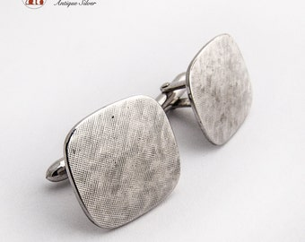 Vintage Rounded Rectangular Cufflinks Sterling Silver