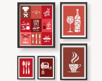 Kitchen Red Variations 5 Set - Red Kitchen wall art - Kitchen print Set - Kitchen Decor - Kitchen poster - Red Kitchen Art - Kitchen 5 Set