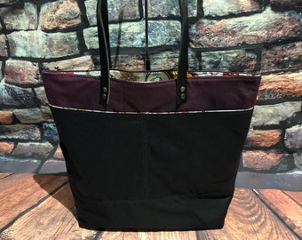 Waxed canvas tote  leather tote bag water proof bag shoulder bag grab and go bag ready to ship