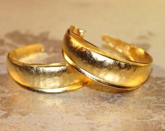 Large Greek Goddess 22 Karat Gold Plated Hammered Gold 'STELLA' Hoop Earrings