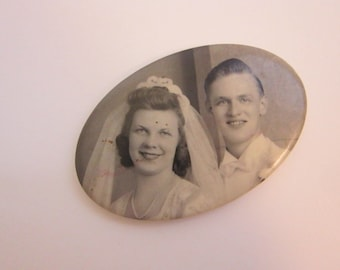 vintage PHOTO pocket mirror - celluloid photo pocket mirror - man and woman, husband and wife, wedding photo