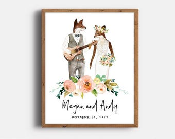 Wedding Day Date, Fox Wedding Couple, Personalized Wedding Gift, Hipster Wedding Gift, Fox Couple Art, Peach, Digital Print