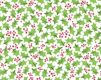 Cloud9 Festive Holly Holiday Organic Quilting Cotton Christmas Fabric