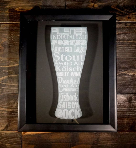 Beer cap shadow box sand carved etched glass art man cave wall for Craft beer typography beer cap shadow box beer cap collector