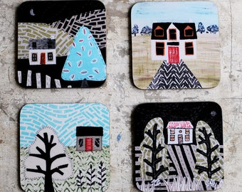 Drinks Coasters- Country Landscape- Set of Four
