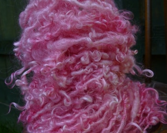 Handspun Art Yarn, Chunky Yarn, Curly Yarn, Hand Painted Yarn: PEONEY