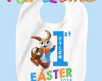 Baby's First Easter Bib - Boys - Personalized with Name and Year