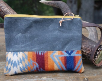 Pendleton wool & waxed canvas zippered leather wristlet bag