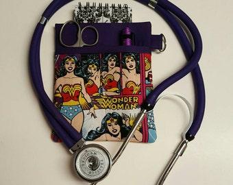 Scrub Pocket Organizer, Lab Coat! Purse organizer. Nurse, Clinicals, RN, CNA, LPN, Vet Tech. Wonder Woman!