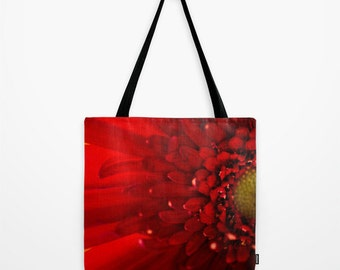 Macro Photo Tote, Red Flower Bag, Red and Yellow, Women's Purse, Gym bag, Beach Bag, Red Flower Tote, Grocery Bag, Shopping Bag, Carry All