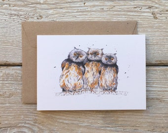 Owls card, Owls watercolour, Owls illustration, Owls painting, Owls art, Blank owls card, Owl card, Blank owl card, Owl illustration