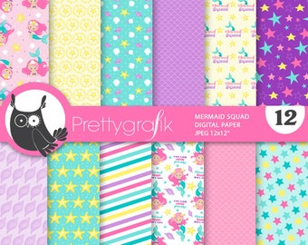 80% OFF SALE Mermaid squad digital paper, commercial use, scrapbook papers,  background,  kitten - PS918