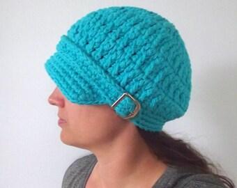 Womens Newsboy Turquoise Blue Newsboy Hat Turquoise Newsboy Cap Crochet Winter Hat Winter Cap Knit Winter Hat Fall Hat Fall Cap Buckle