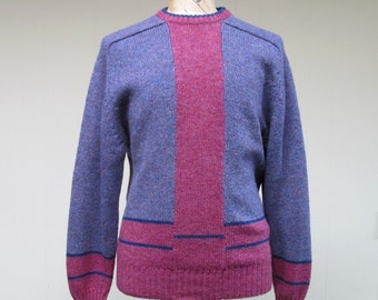 Vintage 1980s Mens Sweater / 80s Colorblock Sheltand Wool Pullover / Medium