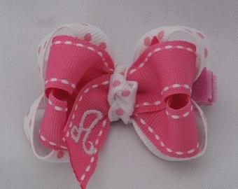 Pink Princess Monogrammed Baby Hair Bow