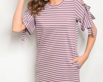 Purple Striped Dress - Pockets - Bow Ties