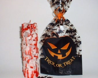 Bleeding Creepy Crazy Halloween Candle White and Red