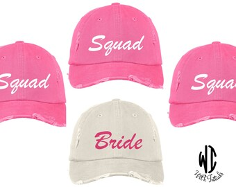 Set of 5, bride  squad, Distressed Hat Cap, unstructured, cotton twill low profile, buckle back,  bachelorette party, bachelor party, summer