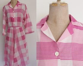 1980's Pink & White Striped Shirtwaist Dress w/ Pockets Size Medium Large XL by Maeberry Vintage