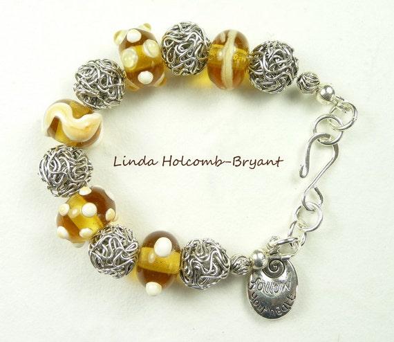 Silver Bracelet of Yellow & White Lampwork Beads