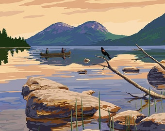Maine - Lake Scene and Canoe (Art Prints available in multiple sizes)