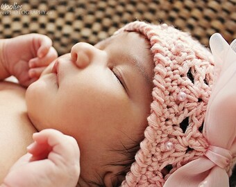Baby Crochet Hat Pattern: 'Angel Cake' Crochet Beanie, Christening, Baptism hat, Fabric Bow DIY