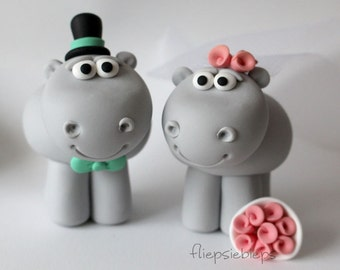 Custom Hippo Cake Topper Wedding