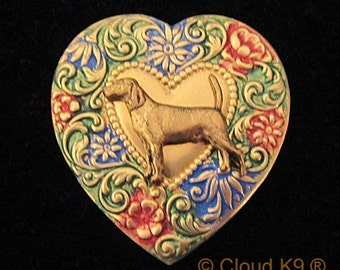 BEAGLE BROOCH PIN. Beagle Jewelry. Handpainted Heart Pin for Beagle Lovers. Beagle Jewelry Gift by Cloud K9.