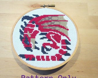 Rathalos Icon Monster Hunter Cross Stitch Pattern PDF Download, Video Game Cross Stitch, Nerdy Cross Stitch, Pixel Art, Gifts for Gamers