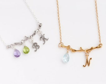 Personalized Twig Birthstone Necklace - OOAK Gift - Initial Customized Jewelry - Gift for Wife - Gift for Her - Family Tree Necklace